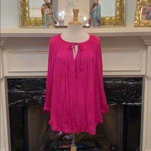 Jennifer Lopez hot pink silky blouse